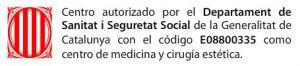Centro Autorizado por el Departament de Sanitat i Seguretat Social